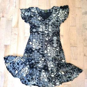 Vintage 90's black and white midi dress